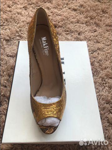Золотистые туфли на каблуке 89144720601 купить 2