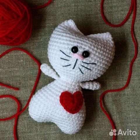 вязаный крючком кот валентин на заказ купить в москве на Avito