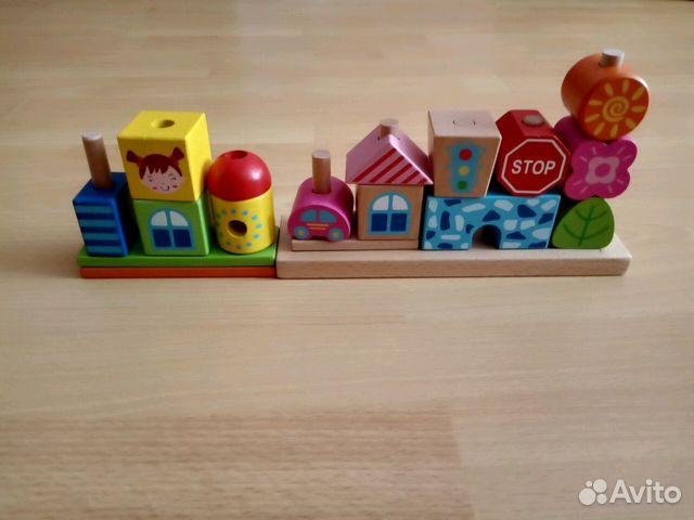 деревянные кубики Viga Toys город купить в санкт петербурге