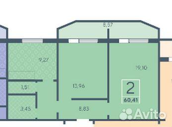 2-room apartment, 60.4 m2, 3/10 FL.