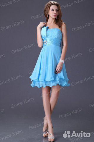Коктейльное платье голубого цвета