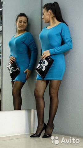 Платье-туника красивого синего цвета купить 4