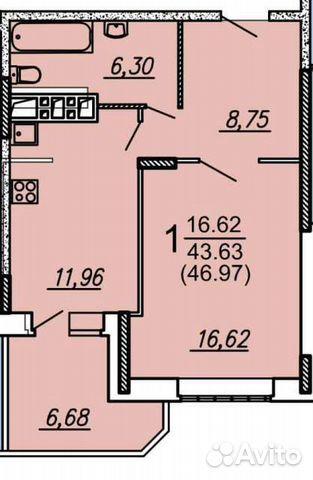1-к квартира, 46.5 м², 6/17 эт.  89155301898 купить 3