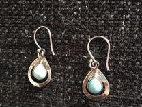 Новые серьги: серебро и ларимар