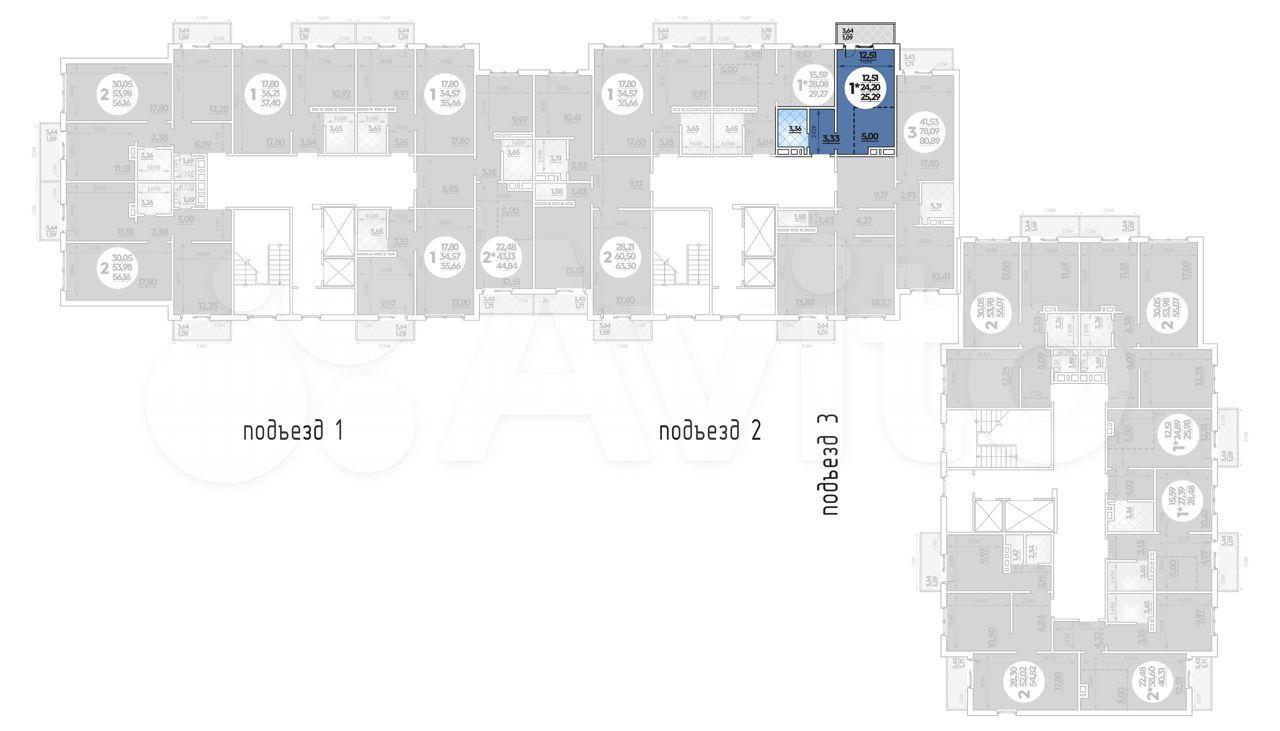 Квартира-студия, 25.3 м², 1/14 эт.  88613258698 купить 1