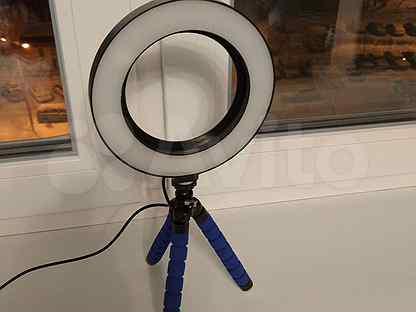 Кольцевая лампа, гибкий штатив