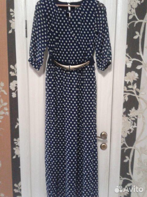 Платье темно синее в горошек